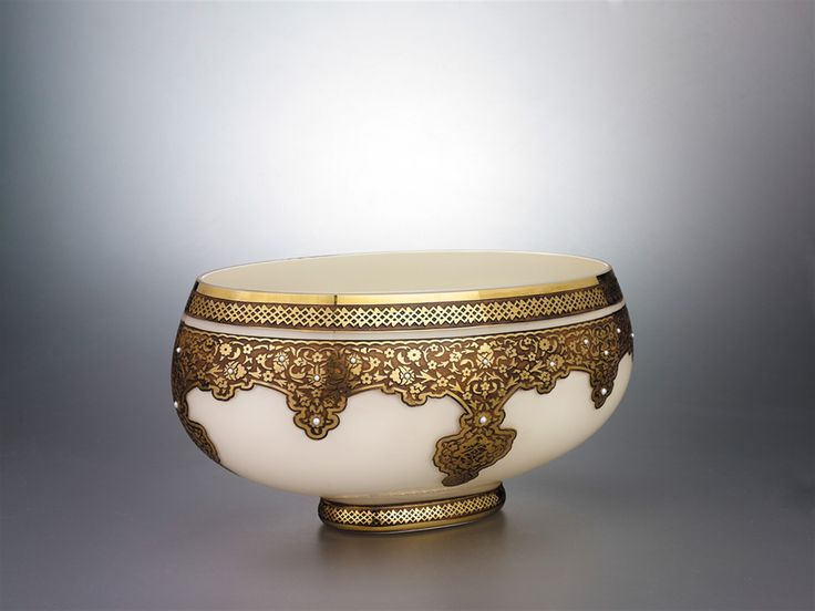 Historic Art Glass Kosk Collection  Glass Gondola decorated with 24 Karat Gold and Pearl stones