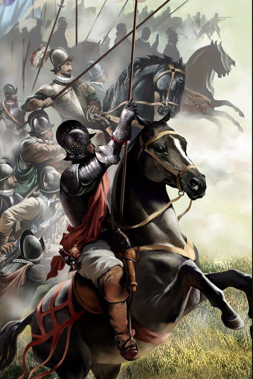 Conquistadores españoles. Los indígenas creían que el jinete y su caballo eran un solo ser...!