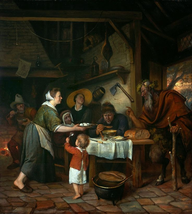 Jan Steen - Satyr and the Peasant Family [c.1660-62]  #17th #Classic #Jan #Steen #Painting
