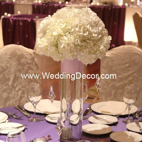 Wedding Centerpiece Hydrangea In A Cylinder Vase With Hanging Crystals And Pink Ribbon