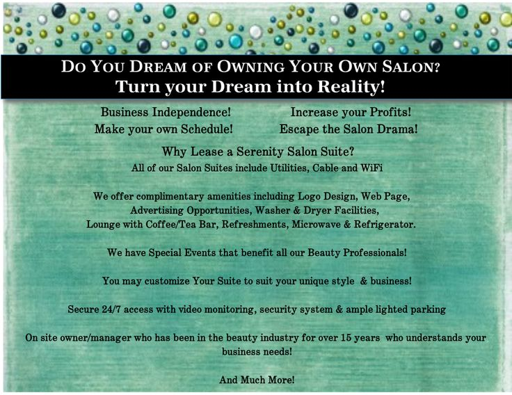 Visit Serenity Salon Suites to discover the difference in Salon Suite Leasing