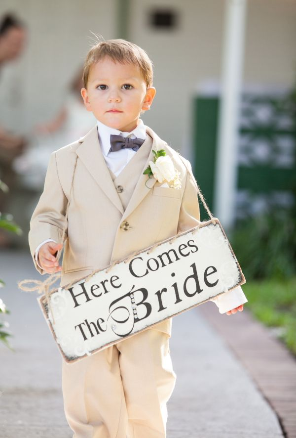 Ring Bearer Carrying Here Comes the Bride Sign - Romantic White, Grey and Pink Davis Islands Garden Club Wedding - Tampa Wedding Photographer Jerdan Photography