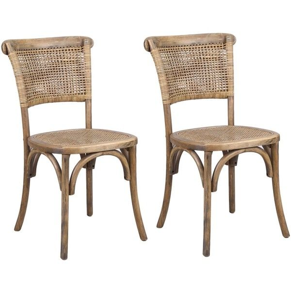 joveco antique vintage rattan solid elm wood dining chair set of 2