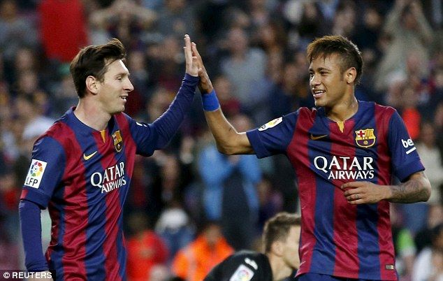 Messi and Neymar high-five during the six-goal demolition of Getafe...