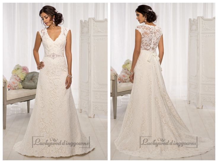Elegant Cap Sleeves V-neck A-line Wedding Dresses with Illusion Back http://www.ckdress.com/elegant-cap-sleeves-vneck-aline-wedding-dresses-  with-illusion-back-p-1999.html  #wedding #dresses #dress #Luckyweddinggown #Luckywedding #wed #clothing   #gown #weddingdresses #dressesonline #dressonline #bridaldresses