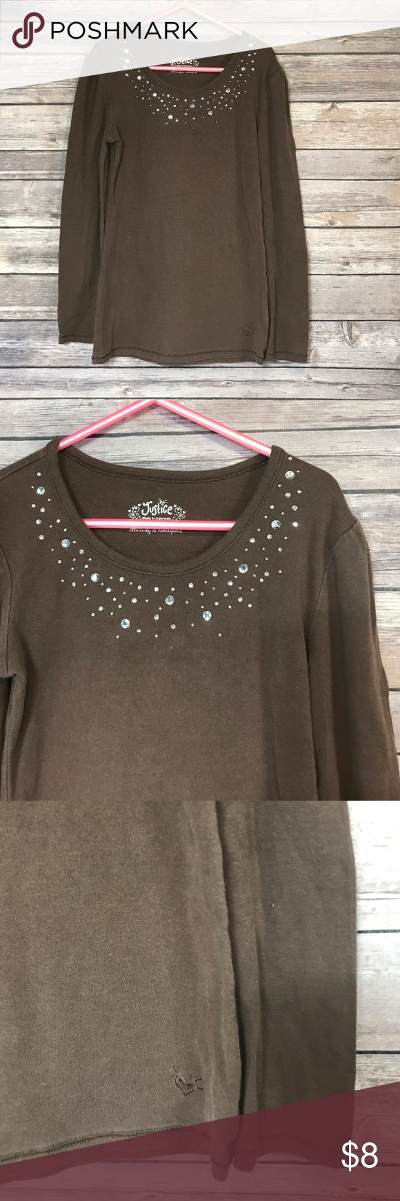💜Sz XS (8) Justice shirt Brown with jeweled neckline. Justice Shirts & Tops Tees - Long Sleeve