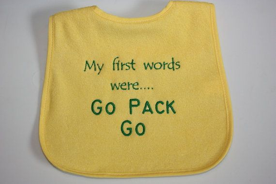 Green Bay Packers Baby Bib  My first words were by creationsbybam, $7.00