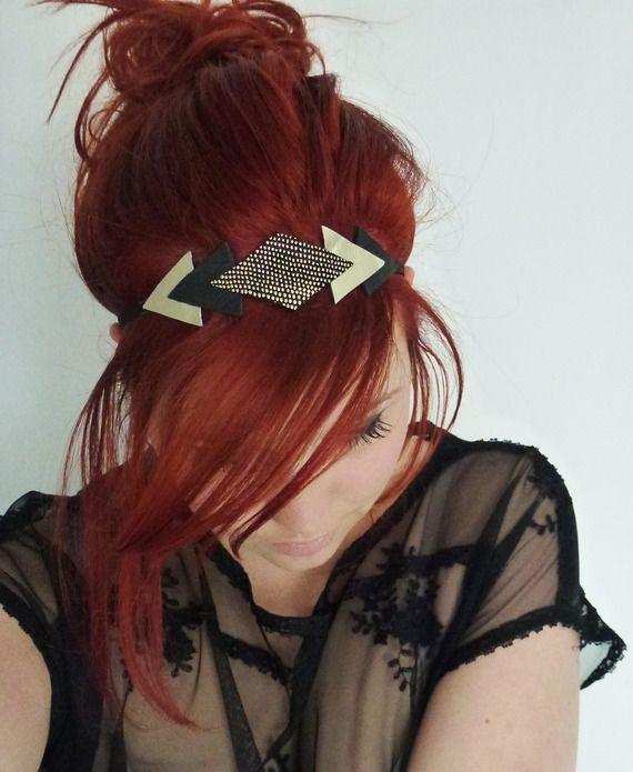 Headband en cuir noir clouté, champagne doré et noir - Paulinka