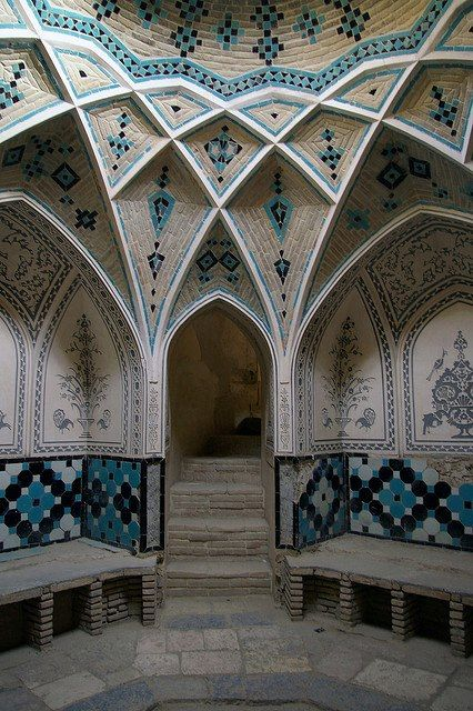 Hammam of Khan-e-Ameriha, Kashan, Iran. This is one of the oldest houses in Kashan built during 1750-94 by Agha Ameri, the governor of Kashan. The house was rebuilt in the mid 19th century after a series of earthquakes destroyed much of Kashan. It encompasses seven courtyards with a total area of 9000 sqm. Photo credit: http://www.flickr.com/photos/jahmorinz/