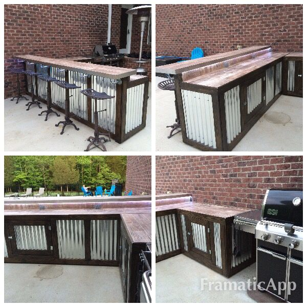 Outdoor pool bar...rustic and practical. Two sections built on wheels. Lots of storage underneath. Bar top made with ceramic tile flooring that looks like wood.