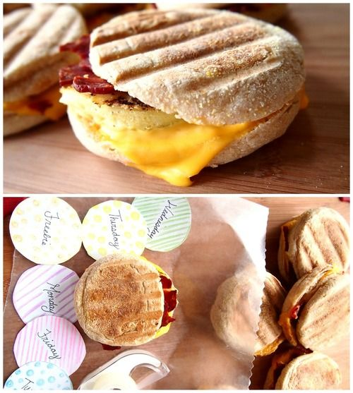 Healthy on-the-go breakfast sandwich, make ahead of time and freeze. Great clean eating site with lots of recipes and tips!