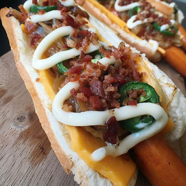 Counting down the days until #OpeningDay with one of our favorite DODGER DOG® Hot Dogs!  Spicy, bacon cheesy goodness from @imhungry #DodgerDogs #FarmerJohnLA