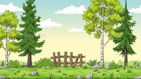 Cartoon Summer Landscape Summer Landscape Nature Vector Landscape Trees