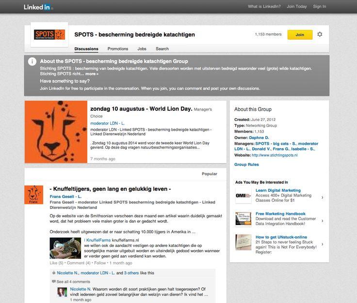 Ben jij actief op LinkedIn? Wij ook! Word lid van onze pagina en praat mee over Stichting SPOTS en de Big Cats!