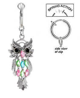 Fake Belly Navel Non Clip on Piercing Multi Color Owl bird Dangle Ring playful piercings. $10.00