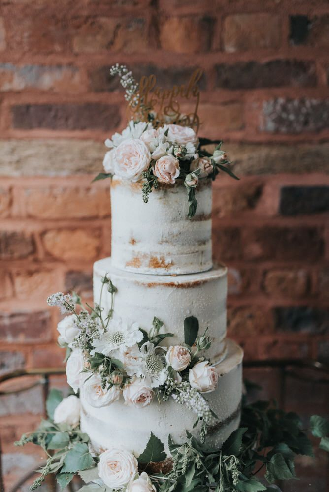Semi Naked Wedding Cake with Flowers | Outdoor Wedding Ceremony At The Holford Estate Knutsford With Elegant Pastel And Copper Details Bride In Penelope By Watters Images Petal & Blush