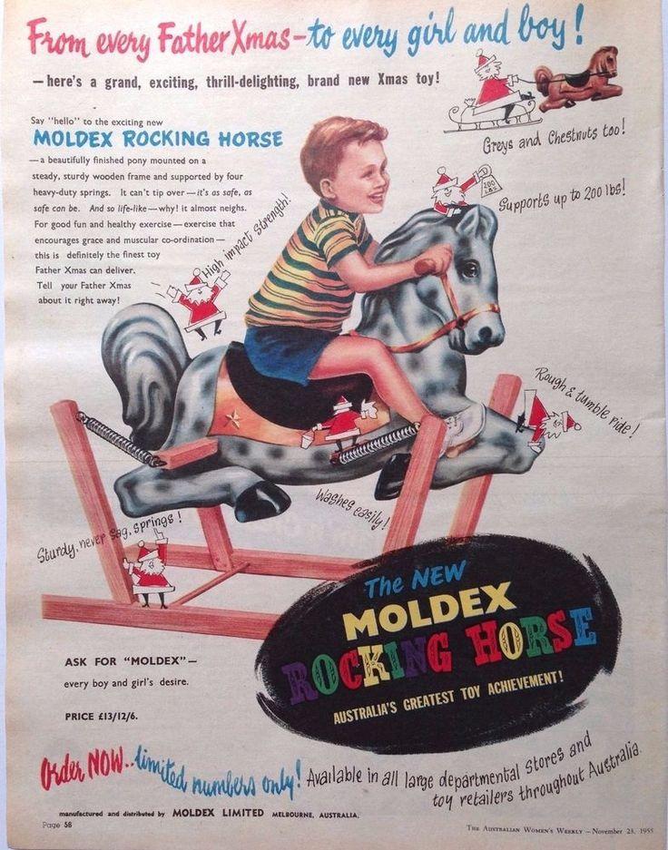 MOLDEX TOYS AD RETRO ROCKING HORSE 1955 original vintage AUSTRALIAN advertising