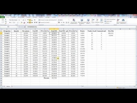 Utiliser les formules Excel - Si, somme.si, max, min, nb.si et arrondi (2/2) - YouTube