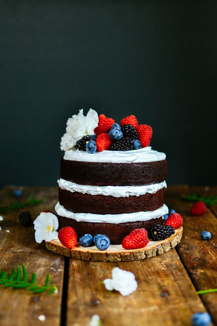 3-tier (naked) chocolate cake — the farmer's daughter