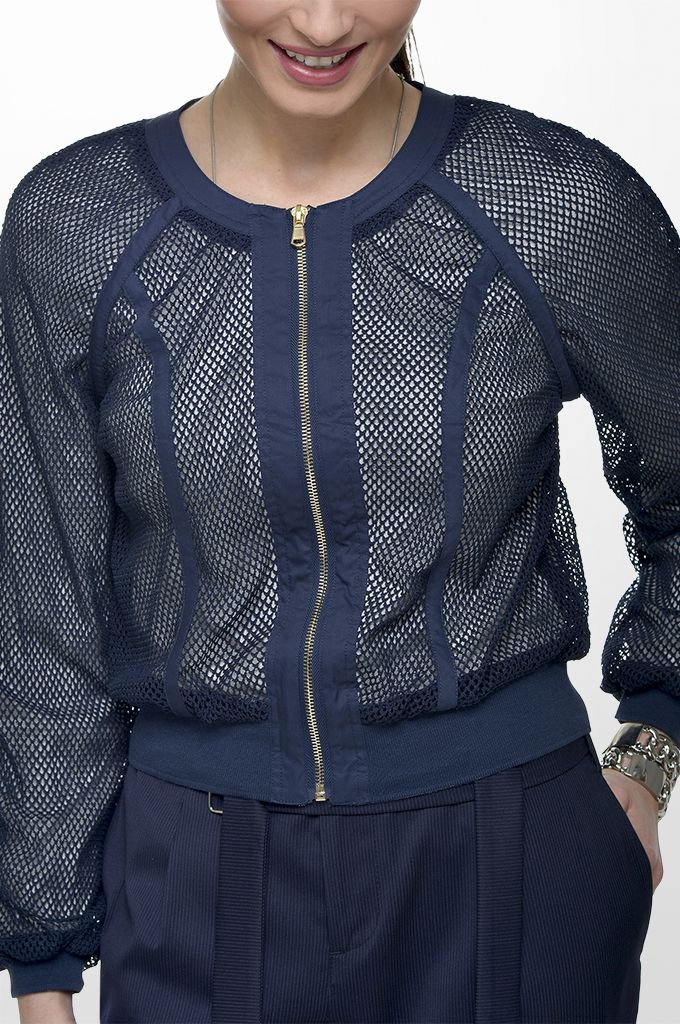 Sarah Lawrence - netted short outerwear with zipper, lurex top with back lace, cropped loose trouser with stripes.