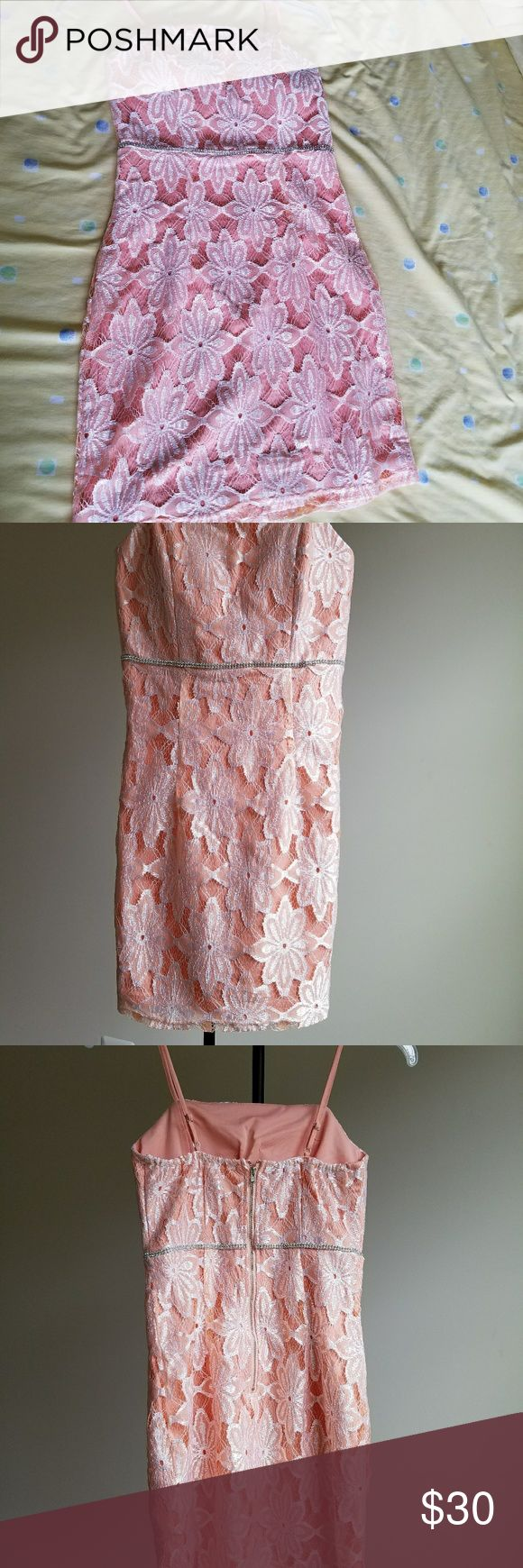 NWOT Soft peach lace dress Beautiful lace , with zipper in the back , comfortable and brand new without tag . Dresses Mini