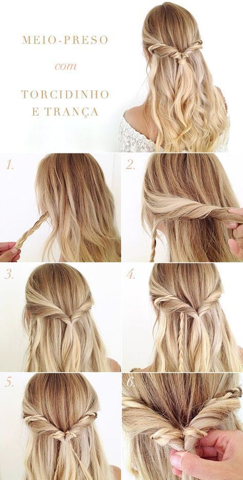 Tutorial for half-tied hairstyles with twist and braid