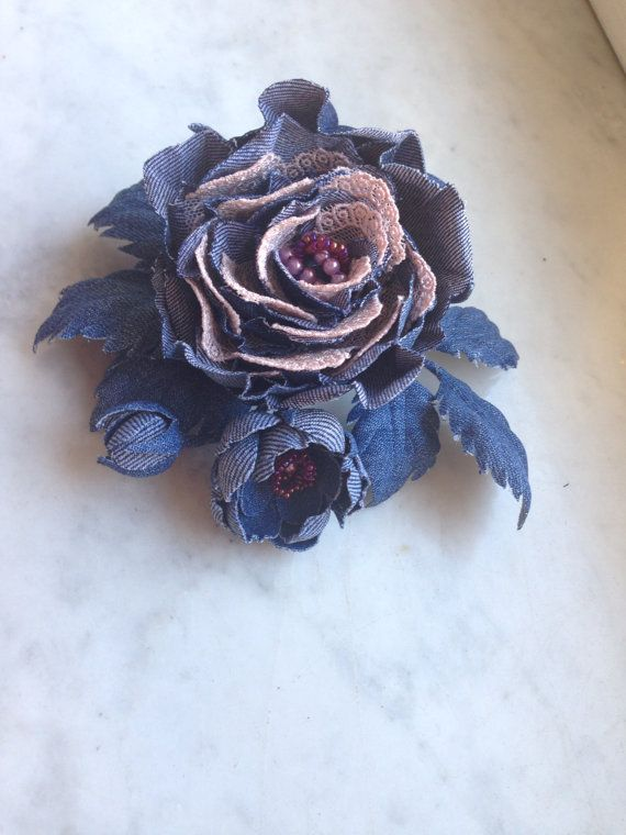 Rose denim, handmade hair clip with a rose, denim flower in her hair. Decoration for hair with a rose and a small sprig of cherry blossoms. All