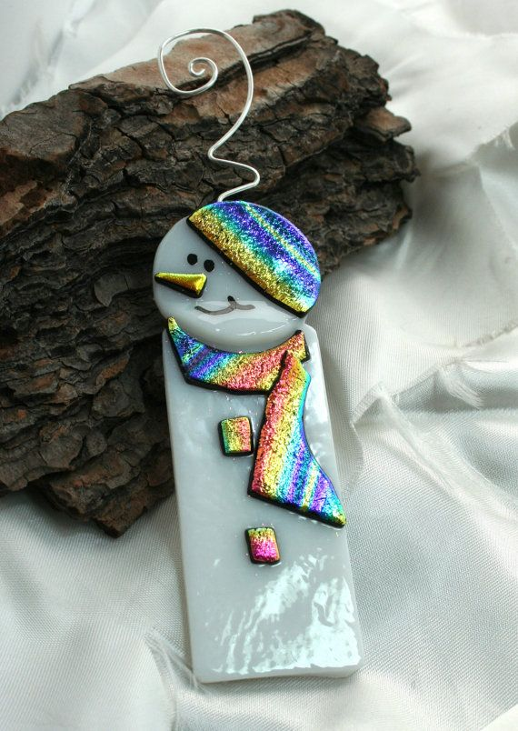 Rainbow Fused Glass Snowman Fused Glass by hbjewelrydesign on Etsy, $16.00