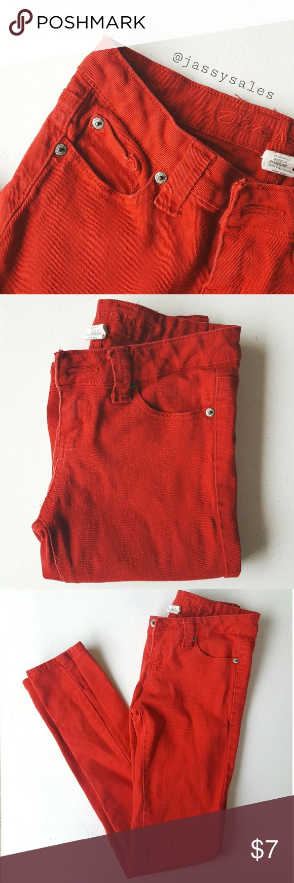 Wet Seal Blue Asphalt Red Skinny Pants 》 Size: 4 WOMEN'S 》 Condition: Very good! These pants have been well loved but still have lots of life left. They have a few loose threads but other than that they are good. Blue Asphalt Pants Skinny