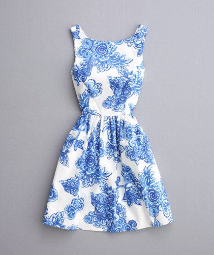 Blue floral patterned dress with bateau neckline