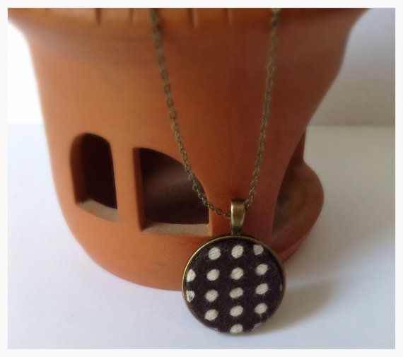 Polka+Dot+Necklace+Black+Pendant+Black+and+White+by+DanusHandmade