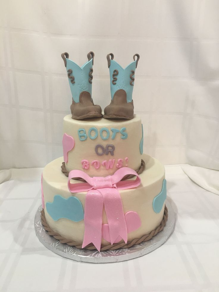 Boots Or Bows Cake The Icing Amp The Cake Babyrevealcake