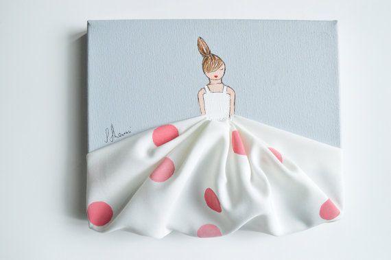 Piccola principessa in Polkadots - mano tela dipinta, vivaio rosa, opera d