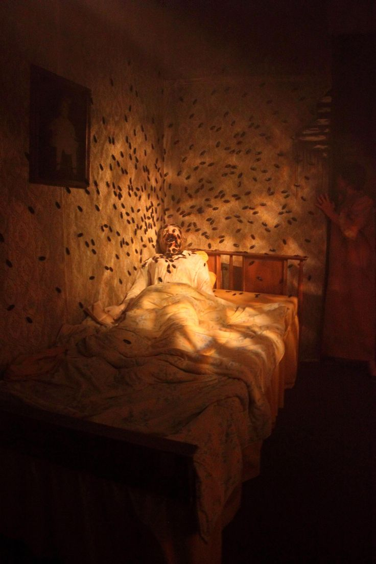 "CREEPY... freak anyone out!! ""PUT YOUR COAT IN THE BEDROOM""  Static: Bedroom Props #Creepy #Halloween"