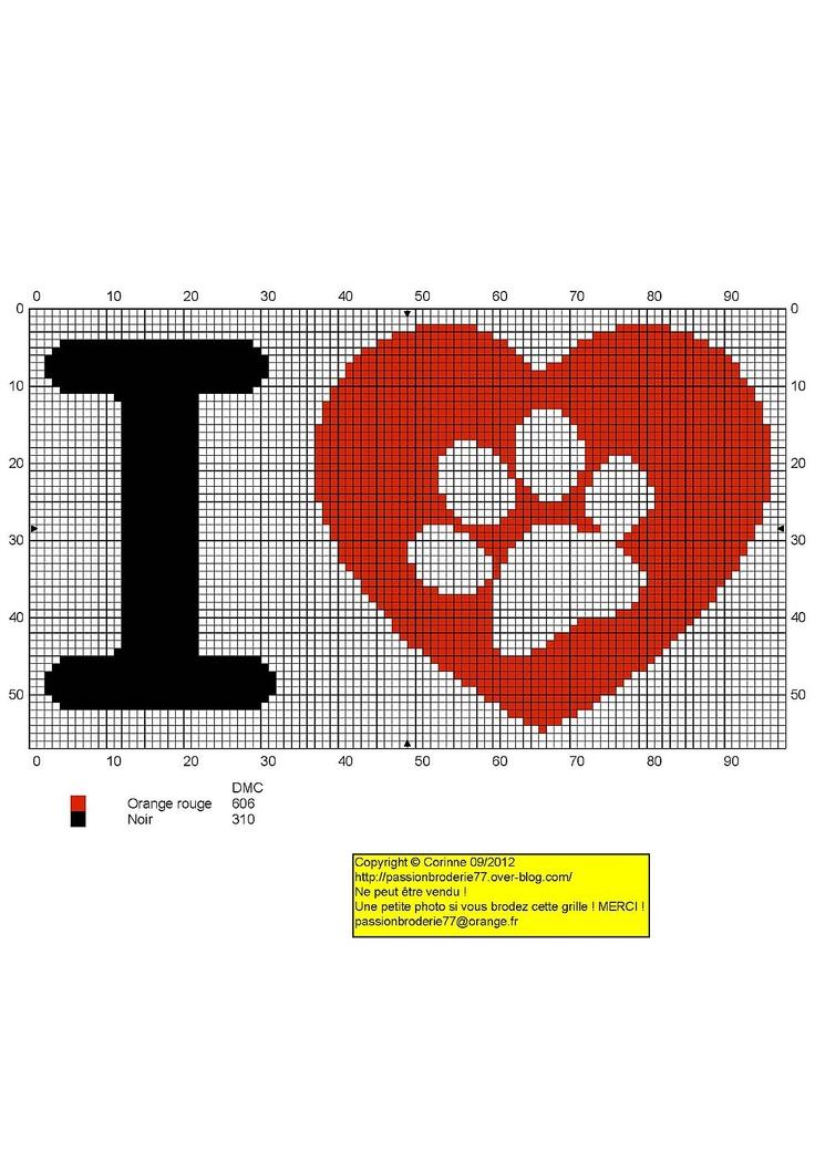 I love dogs - Free cross stitch chart