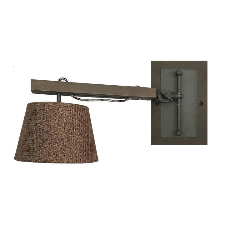 lámpara aplique madera y lino para pared | Comprar lámparas rústicas de pared tipo aplique y precio económico | Ineslam #lamparas #lamparasmadera #iluminacion #decoracion #comprarlamparas #comprarlamparasparacasa #diseño