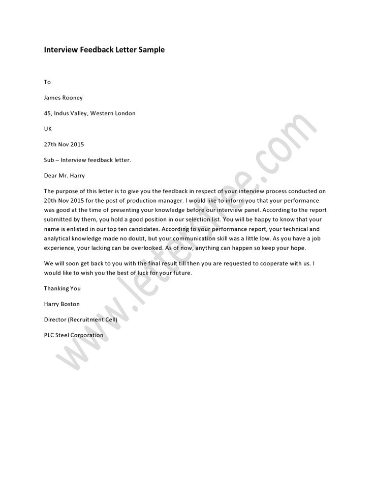 Sample #Interview Feedback #Letter, How to #Write a Interview - interview essay example