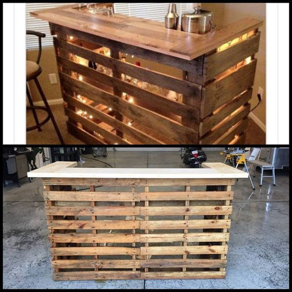 Bar made from Pallets. May be stained or left unfinished - includes LED lighting. Shelving is in the pallets themselves - thus bottles are viable through the pallets. Fits most liquor and wine bottle heights and circumference. Serving top and preparation top. Pick up - Harrisonburg, VA, Delivery possible to the following destinations for a fee to be determined. Northern Virginia, Charlottesville, VA, Roanoke, VA, Bristol, VA, Knoxville, Tn, & Shelbyville, TN. Possibly other areas along the…
