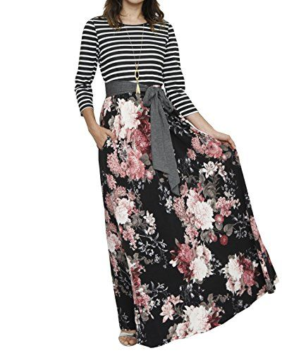 ee947cfbf LIKELY Womens Casual 3/4 Sleeve Striped Patchwork Floral Print Tie Waist  Maxi Long Dress with Pockets