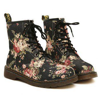 Vintage Floral Print and Denim Design Matin Boots For Women, BLACK, 38 in Boots | DressLily.com