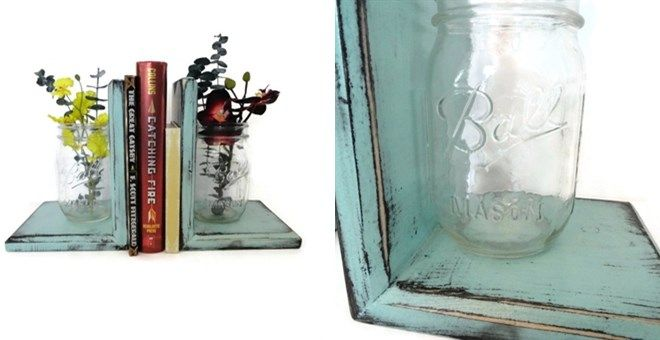 Mason Jar Bookends. I need to make these!
