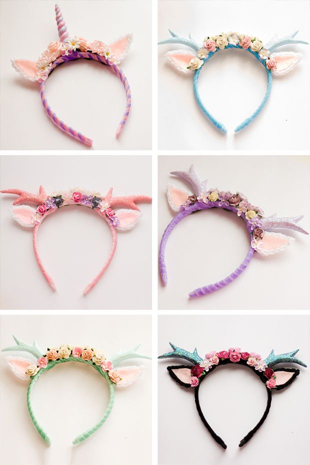 Cupcake's Clothes: handmade deer and unicorn alice bands.