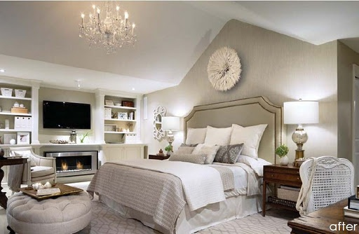 cozy master bedDecor, Dreams Bedrooms, Headboards, Bedrooms Design, Colors, White Bedrooms, Master Bedrooms, Vaulted Ceilings, Bedrooms Ideas