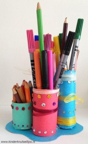 Pennenbakje Knutselen - knutseltip, knutselen met kinderen. http://kinderknutseltips.nl/pennenbakje-knutselen-knutseltip/