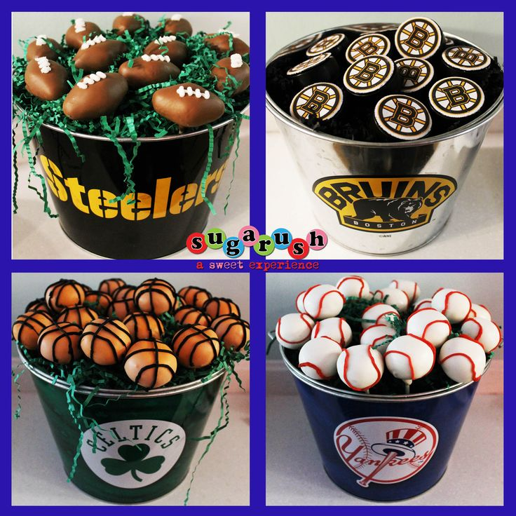 Cake Pop Centerpieces, Yankees Cake Pops, Celtics Cake Pops, Bruins Cake Pops, Steelers Cake Pops, Football cake pops, Baseball Cake Pops, Basketball Cake Pops, Oreo Hockey Pucks.