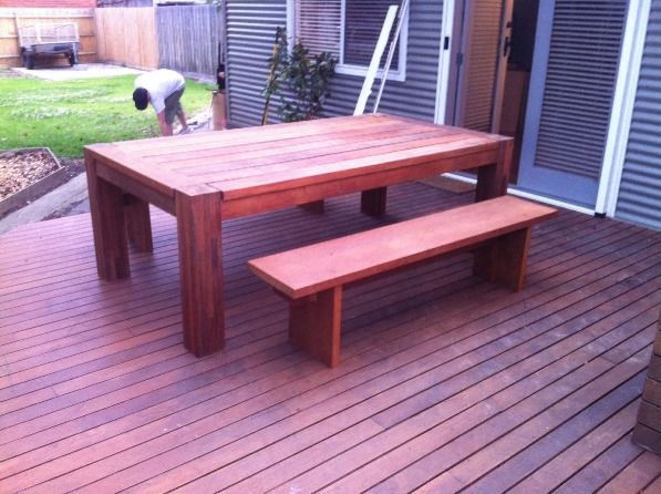 Outdoor timber table set