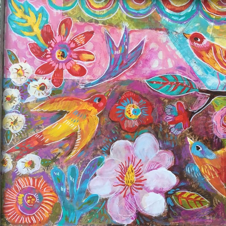 Mixed media birds and flowers.