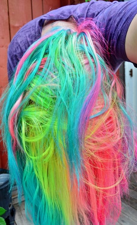 Neon Rainbow Hair - Special Effects Cupcake Pink, Special Effects Atomic Pink, Manic Panic Atomic Turquoise, and Manic Panic Electric Lizard