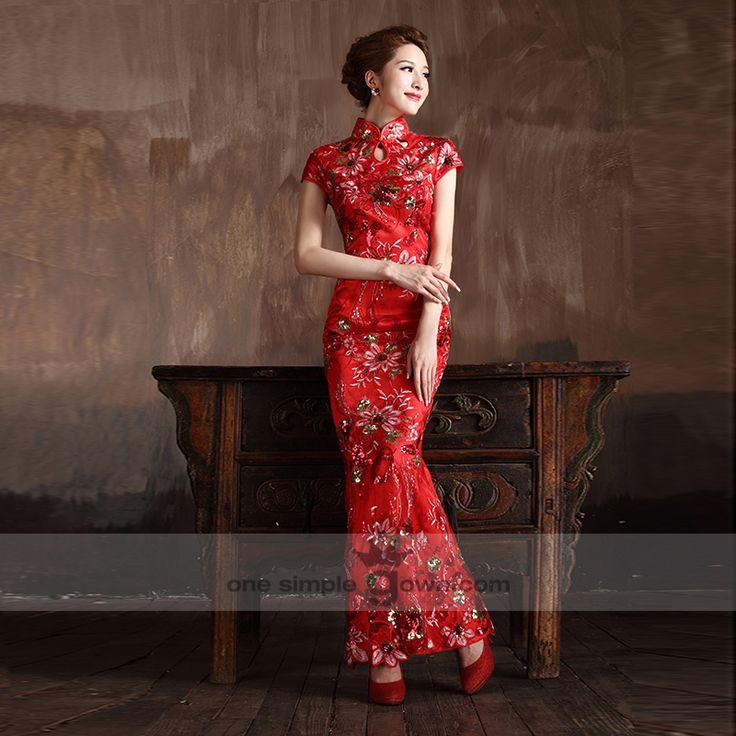 Collar Short Sleeve Floor Length Flower Embroidery Cheong Sam