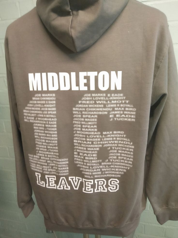 Our classic college leavers hoodies in Grey for Stindon College. With custom embroidered college logo on the front and custom Leavers Names printed on the back in white. Cool or what?!